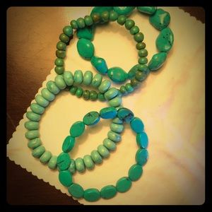 Jewelry - Four individual turquoise color bracelets